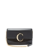 【Chloe' 蔻依】新款CHLOE C Bag 金釦小牛皮手拿/鍊帶包(黑色)