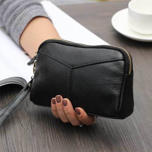 新款大容量軟皮女士手拎小包休閒時尚簡約純色長款女式錢包化妝包 至簡元素