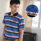 【大盤大】(P07108) 男 口袋上衣 台灣製 條紋 繡花 短袖POLO衫 休閒 保羅衫 居家舒適【剩M和L號】