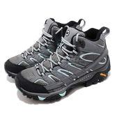 Merrell 戶外鞋 Moab FST 2 Mid GTX 灰 藍 Gore-Tex 健走 登山鞋 女鞋【PUMP306】 ML06060