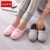 春秋季居家棉拖月子鞋包跟時尚家居家拖鞋防滑男女保暖月子鞋 深藏blue