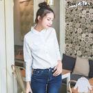 襯衫--專業自信經典百搭款OL首選指標素面白色長袖襯衫(白XL-5L)-I174眼圈熊中大尺碼★