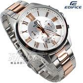 EDIFICE EFV-500SG-7A 三眼錶 日期 計時碼表 大錶徑腕錶 不銹鋼錶帶 羅馬數字時刻 男錶 EFV-500SG-7AVUDF