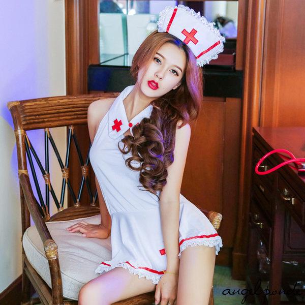 天使波堤【LD0105】歐美療愈情人俏護士繫帶露背角色扮演誘惑制服-性感白衣天使紅十字情趣套裝