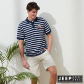 【JEEP】網路限定 時尚狐狸圖騰條紋短袖POLO衫-藍