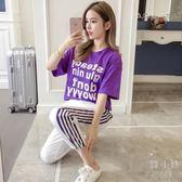 休閒運動套裝女2018夏季新品韓製修身顯瘦時尚兩件套短袖運動服潮