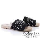 2019春夏_Keeley Ann簡約一字帶 麻繩編織抽鬚寶石平底拖鞋(黑色) -Ann系列