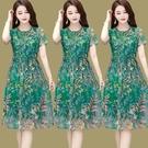 2021新款洋裝/連衣裙媽媽女裝網紗印花收腰顯瘦短袖時尚氣質中長 快速出貨