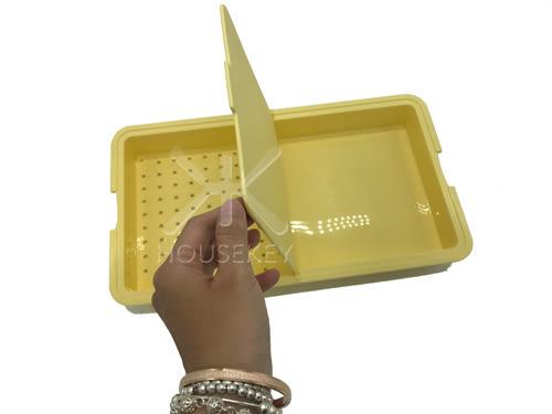 【好市吉居家生活】NATURE 7203 日本二合一砧板-黃色 料理版 切菜板 瀝水籃