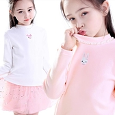 女童打底衫兒童純棉秋冬半高領加絨長袖上衣寶寶春秋白色洋氣t恤 小艾新品