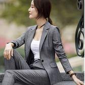 正式西裝領格紋質感佳OL長袖西裝外套~8X192-PF ~小三衣藏