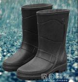 新款春夏時尚仿皮男式雨鞋中筒高筒防水防滑雨靴機車水鞋套鞋膠鞋「摩登大道」