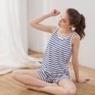 睡衣/親膚透氣精梳絲柔棉無鋼圈BRA罩杯背心套裝居家服睡衣三色小百合20100005-2