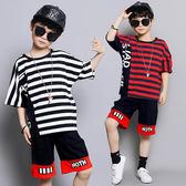 現貨 男童夏裝套裝2019新款中大童兒童短袖兩件套韓版條紋男孩服裝 (8歲以上)  套裝