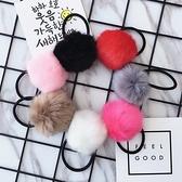 ►人造兔毛 毛毛球皮筋髮圈髮飾【B5078】