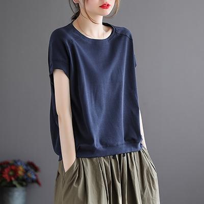 純棉圓領短袖T恤 純色寬鬆直筒短上衣/5色-夢想家-0329