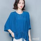 棉麻上衣女2020夏季新款寬鬆大碼蝙蝠衫時尚洋氣小衫襯衫抽繩T恤 LR23969『Sweet家居』