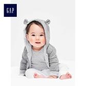 Gap男女嬰兒 布萊納小熊刺繡正反兩穿小熊造型連帽休閒外套 592524-淺麻灰色
