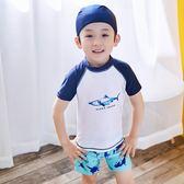 *╮小衣衫S13╭*男童清爽二件式短袖泳衣泳褲送泳帽1070604