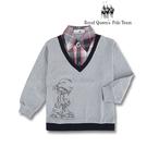 台灣製格紋領假兩件式灰色長袖POLO衫 RQ POLO 中大童秋冬款[9606]