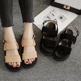厚底鬆糕涼鞋 夏季露趾一字扣平底鞋 羅馬鞋【多多鞋包店】z8203