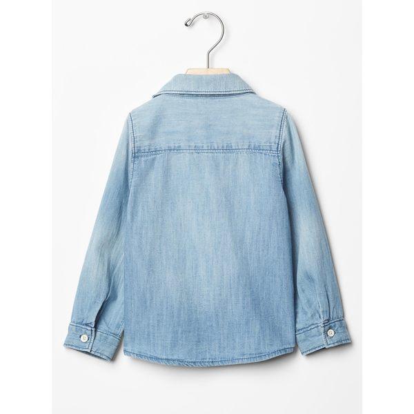 Gap女嬰幼童 1969牛仔系列青年布長袖襯衫 233502-精紡斜紋布