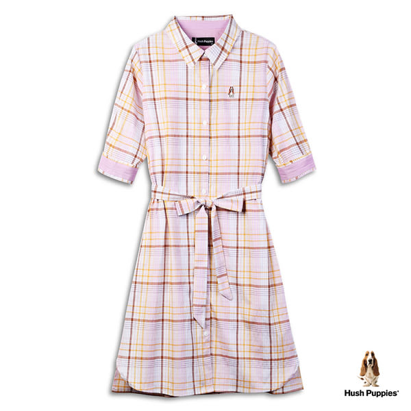 Hush Puppies 襯衫洋裝 女裝腰綁帶格紋襯衫洋裝