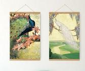 西歐現代簡約客廳裝潢掛畫實木卷軸畫孔雀油畫西方壁畫掛畫牆畫