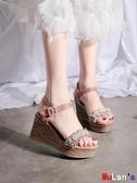伊人 楔形涼鞋 坡跟涼鞋 鬆糕 厚底鞋 一字帶 女鞋