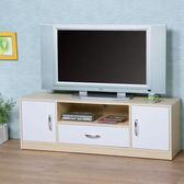 【Homelike】清新森林電視櫃(楓木+白色)