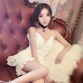 很仙的連身裙夜店性感低胸深V領露背公主蓬蓬蛋糕吊帶洋裝小禮服