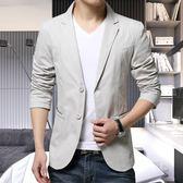西裝男韓版修身外套男裝小西服青年免燙砂洗單西休閒上衣
