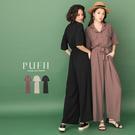 PUFII-連身褲 縮腰排釦連身長寬褲(...
