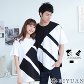 【OBIYUAN】短袖T恤 寬鬆 落肩 配色 情侶 圓領上衣 共2色【X701-1】