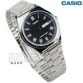 CASIO卡西歐 MTP-V006D-1B 休閒時尚簡潔大方 羅馬時刻 不銹鋼 防水 男錶 黑色 MTP-V006D-1BUDF