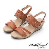 楔型涼鞋 戀夏時光雕花真皮楔型涼鞋(棕)*BalletAngel【18-758br】【現貨】