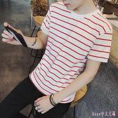 夏季條紋短袖T恤男士韓版修身圓領半袖上衣服青少年潮流港風男裝 DR16176【Rose中大尺碼】