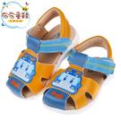 《布布童鞋》POLI救援小英雄波力藍黃色寶寶皮質護趾涼鞋(13.5~15公分) [ B0M126K ]