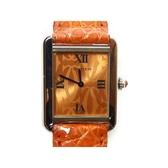 【特價26%OFF】Cartier 卡地亞 橘色面盤皮錶帶石英腕錶 Tank Solo SM  【BRAND OFF】