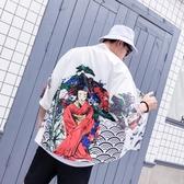 中大碼T恤 日系復古潮流七分袖和服襯衫男女開衫情侶款寬鬆薄款中袖襯衣道袍