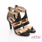 effie 修身美型系列 全真皮雙色拼接金箔露趾高跟鞋 黑色