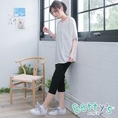 betty's貝蒂思 純色口袋剪接彈性七分褲(黑色)