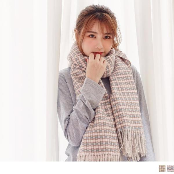 《ZC2051》暖感磨毛配色線條格紋流蘇圍巾/披肩 OrangeBear