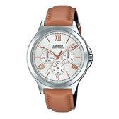 CASIO 卡西歐 手錶專賣店 MTP-V300L-7A2  羅馬三眼指針男錶 皮革錶帶 銀白色 生活防水