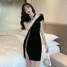 旗袍洋裝 春夏新款2021年旗袍年輕款少女復古改良版緊身顯瘦開叉黑色連身裙