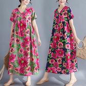 洋裝 連身裙 民族風棉麻長裙女夏裝復古印花文藝V領mm 中大尺碼 短袖連衣裙
