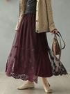 棉麻半身裙 水溶花蕾絲裙 抽繩鬆緊腰長裙/2色-夢想家-0113