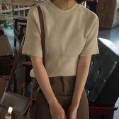 春夏新款韓版坑條紋短袖t恤女卷邊針織打底衫純色上衣 奈斯女裝
