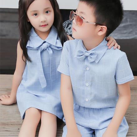 可琳淡藍仿麻格紋短袖親子裝(小孩)