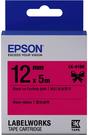 LK-41BK EPSON 蕾絲緞帶系列桃紅底黑字標籤帶(寬度12mm) C53S654458